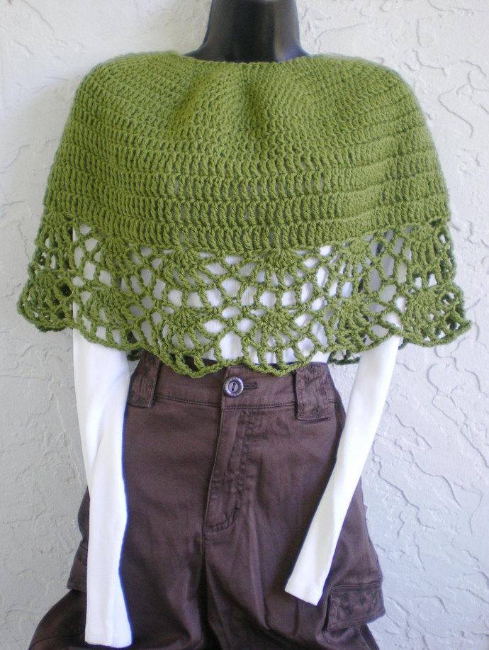 hand crochet capelet women shawl women poncho evening wrap woolblend  green