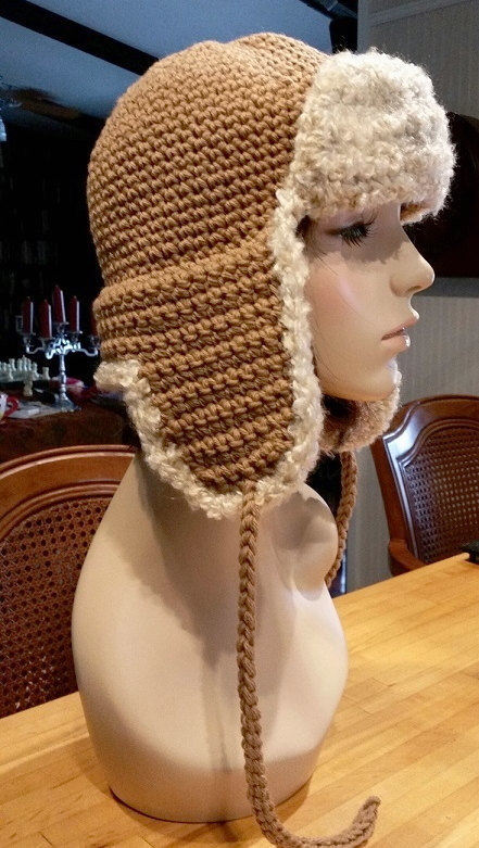 hand crochet russian trapper bomber aviator Hat womens hat womens accessories