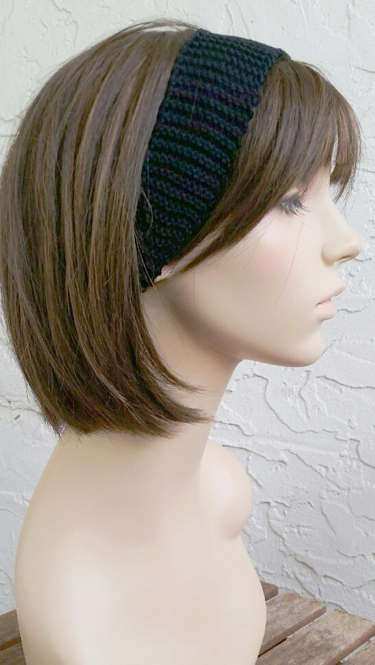 hand knit black Headband Headwrap women womens headband hair accessories MADE TO