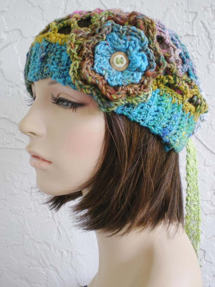 hand crochet bandana kerchief  ~ gypsy spirit rib mesh ~  multicolor 5