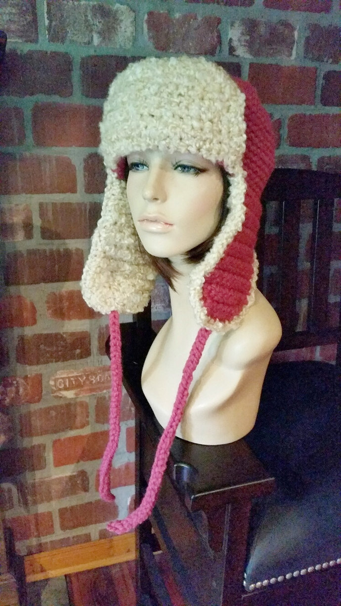 hand crochet russian trapper bomber aviator Hat  womens accessories winter hat
