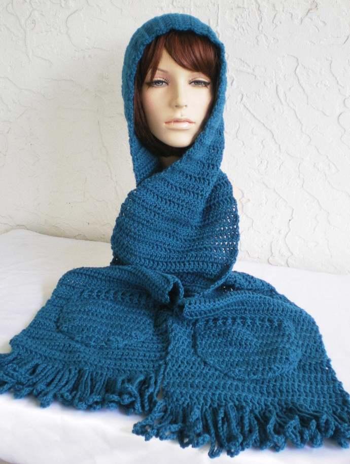 hand crochet hood scarf hat womens accessories winter hat womens hood pocket