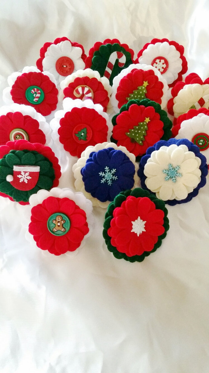 Felt dog collar flower, photo prop, holiday xmas ~ Boxer Friends Rescue felt