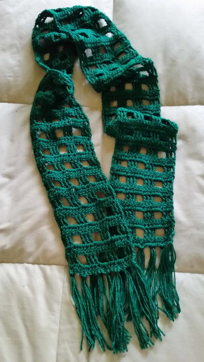 hand crochet scarf women accessory kelly green deep green  scarf st patricks day