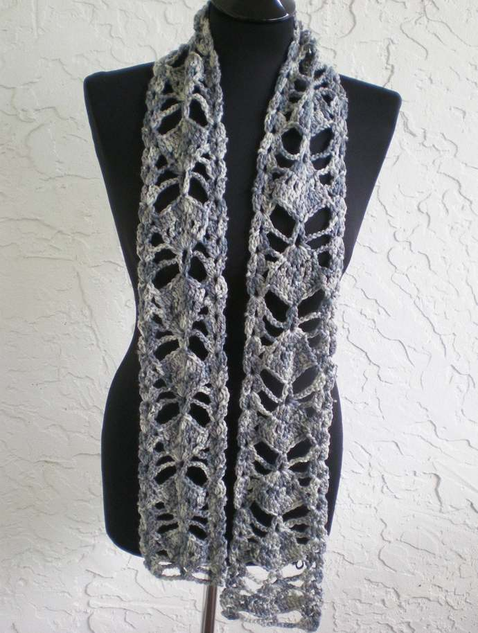 hand crochet scarf ~ fan ~ multicolored greys