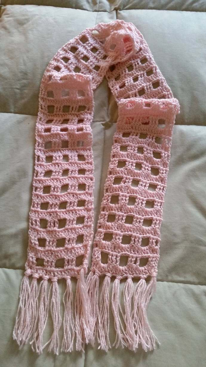 hand crochet scarf women accessory peachy pink scarf ~  squares~  peachy pink