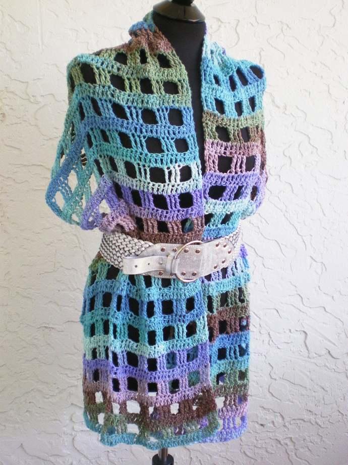 hand crochet shawl capelet vest womens shawl womens accessories boho multicolor