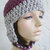 hand crochet earflap hat ~ trapper two tone ~  fig grey