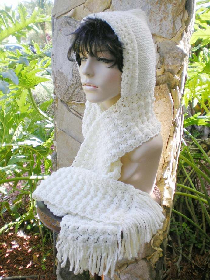 hand knit hood scarf hat crochet scarf winter hat womens accessories winter hat