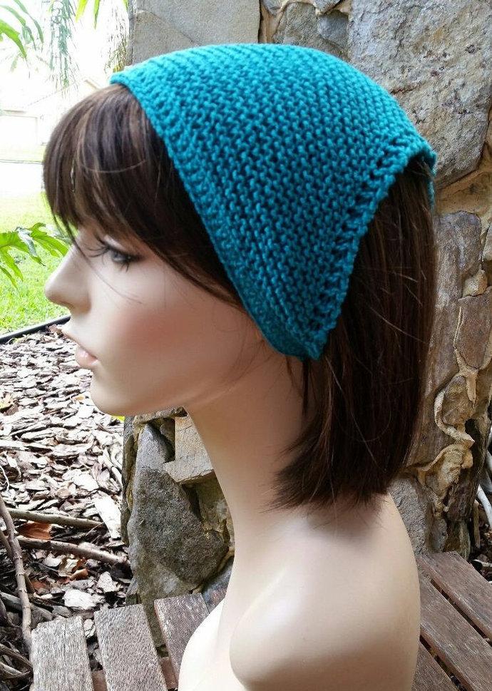 hand knit Bandana dorag kerchief, women accessories, head wrap, head scarf,