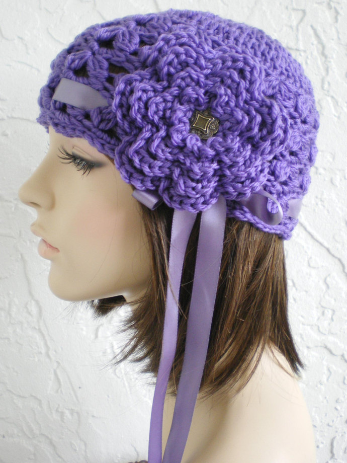 hand crochet cloche beanie hat  ~ scallop hat ~ royal purple