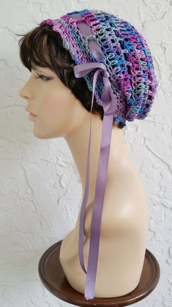 hand crochet Tam rasta beanie Hat ~ chic slouch ~ lilac - made to order