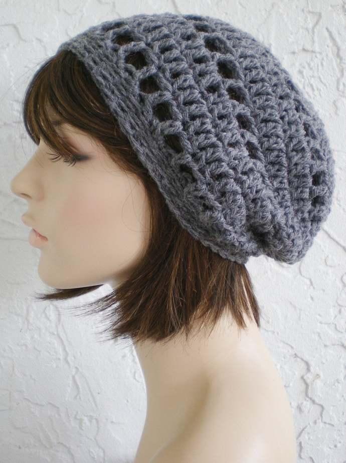 crochet grey Tam  Hat  crochet rasta hat grey slouch hat women accessories ~