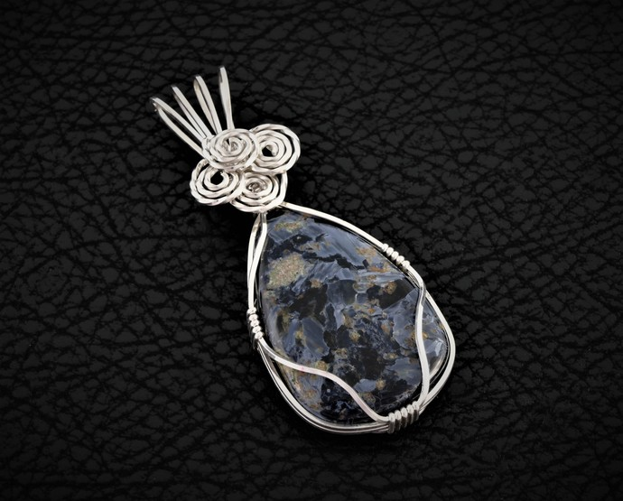 Pietersite Wire Wrapped Argentium Sterling Silver Pendant (P116)