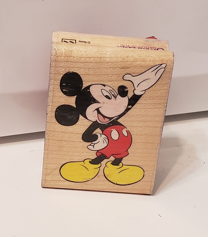 USED Mickey Mouse wood stamp. Mickey presents 324D