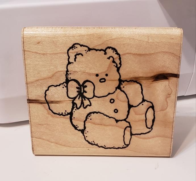 Fluffy teddy bear wood stamp