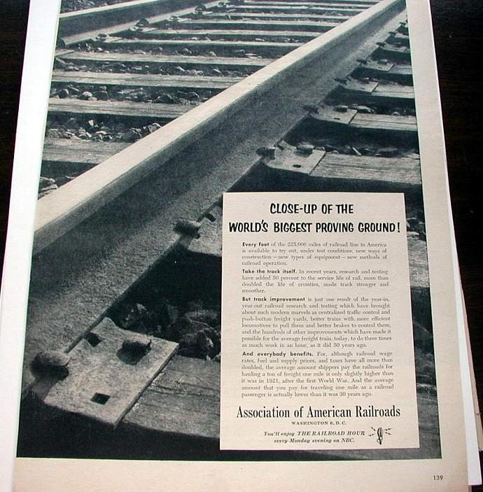 1953 Life Magazine Ad-Assn of American Railroads