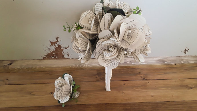 Book Flower Wedding Bouquet and Boutonniere, Bridal Bouquet, Grooms Boutonniere,
