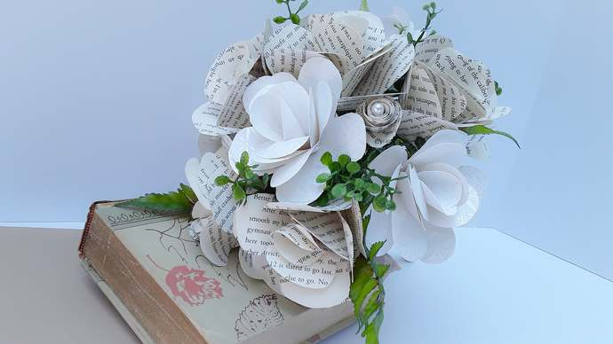 Paper Flower Wedding Bouquet, Book Flower Bridal Bouquet, Paper Flower Wedding,