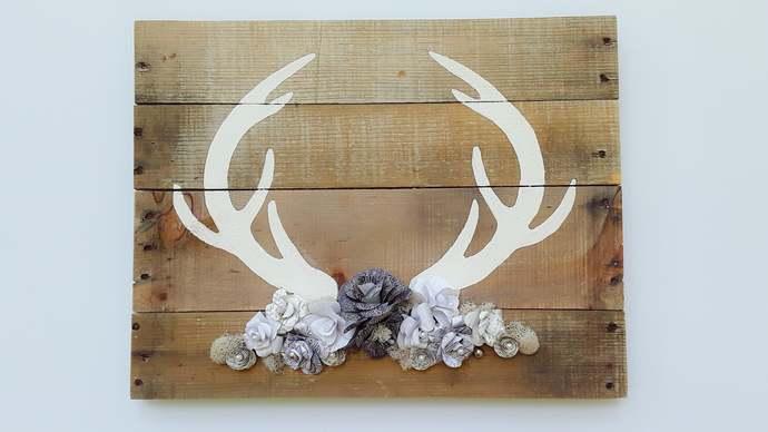 Boho Deer Antler Wall Decor, Paper Flower Deer Antler, Deer Antler Nursery