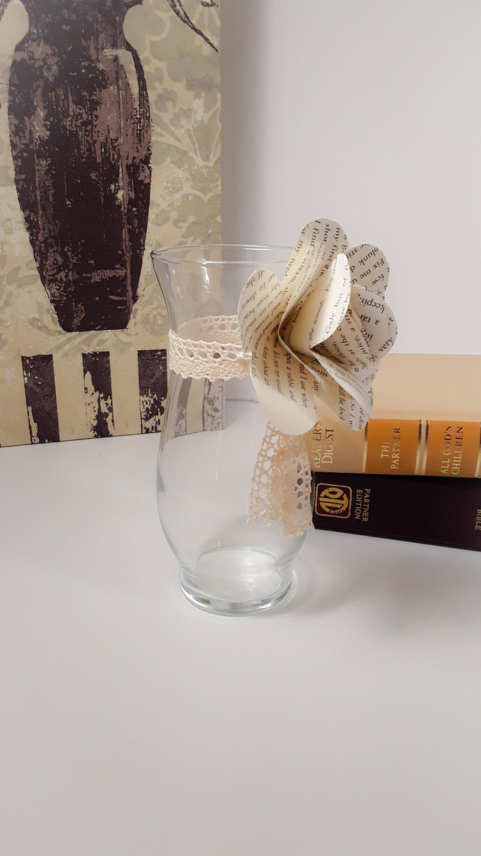 Clear Glass Vase with Lace and Paper Flower, Literary Flowers, One Dz Paper