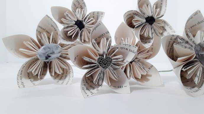 One Dozen Origami Kusudama Paper Flowers Handmade with Pages from Upcycled