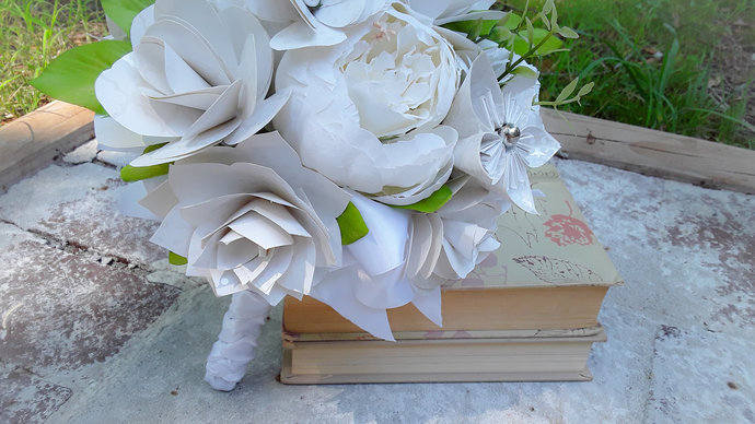 Keepsake Wedding Bouquet handmade with Paper Flowers and Faux Peonies in White,