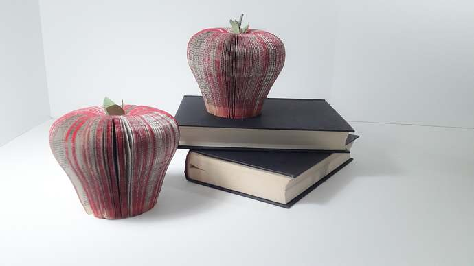 Book Page Apple for Teachers Gift, Bookworm Gift Idea, Recycled Book Art,