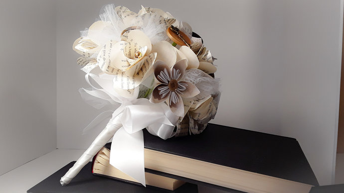 Steampunk Inspired Book Page Flower Wedding Bouquet, Literary Wedding, Victorian