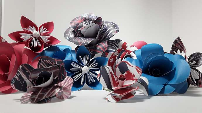 Red White and Blue Paper Flowers, Handmade Patriotic Flowers, Americana Home