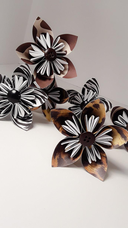 Animal Print Origami Kusudama Flowers, Handmade Paper Flower, Zebra Print,