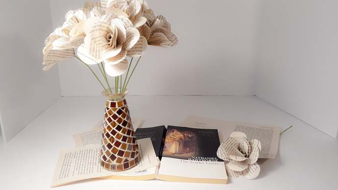 The Scarlet Letter Book Page Flowers, 1st Anniversary Gift, Book Roses, Literary