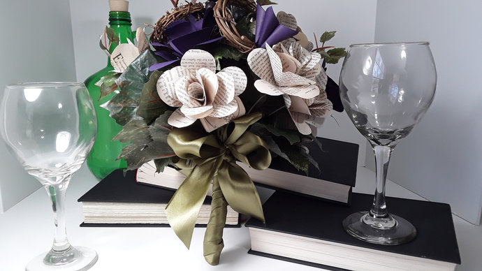 Winery Inspired Book Page Flower Wedding Bouquet, Rustic Bridal Bouquet, Custom