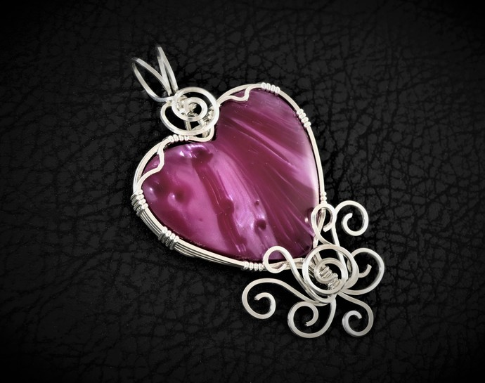 Sterling Silver Heart Pendant  -  Wire Wrapped Pink Magenta Bowlerite Jewelry  -