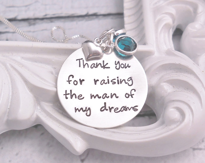 man of my dreams necklace, mother of the groom gift, custom hand stamped