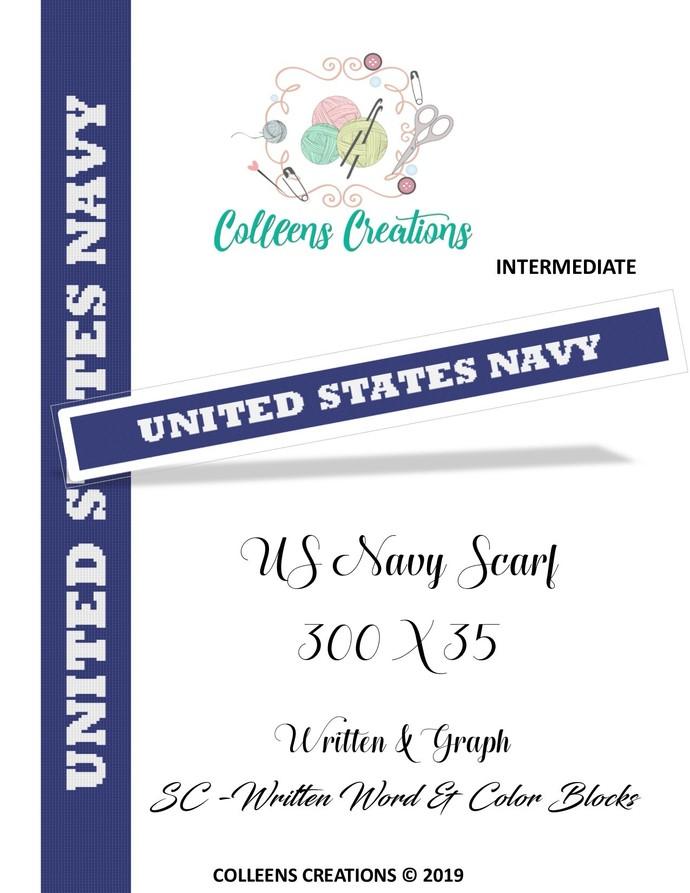 US Navy Scarf Crochet Written and Graph Design