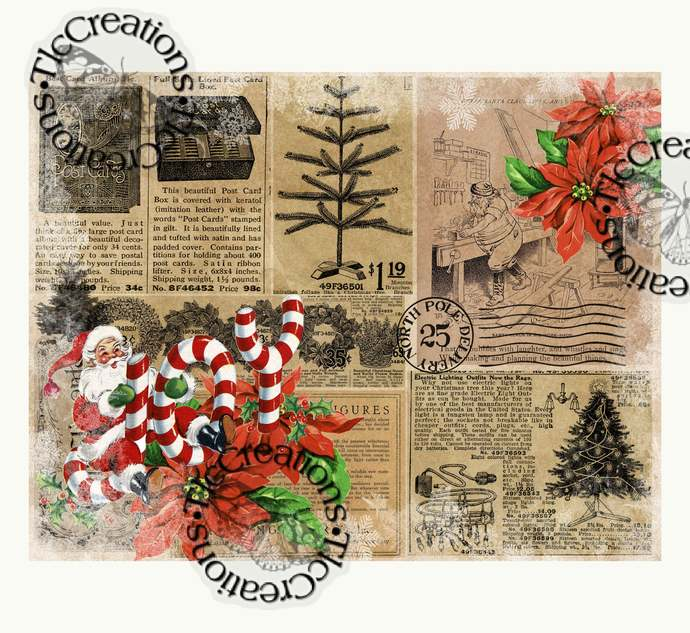 Christmas Collaged Retro Printable Papers Junk Journal Scrapbook Mixed Media