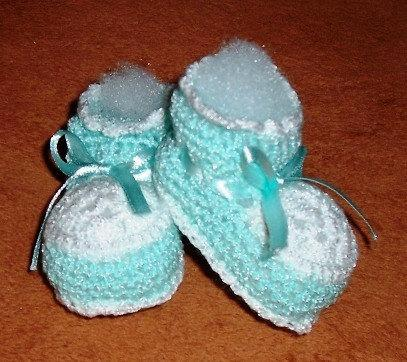 Handmade Green And White Crochet Baby Booties By Ticc On Zibbet