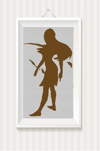 Pocahontas silhouette cross stitch pattern in pdf