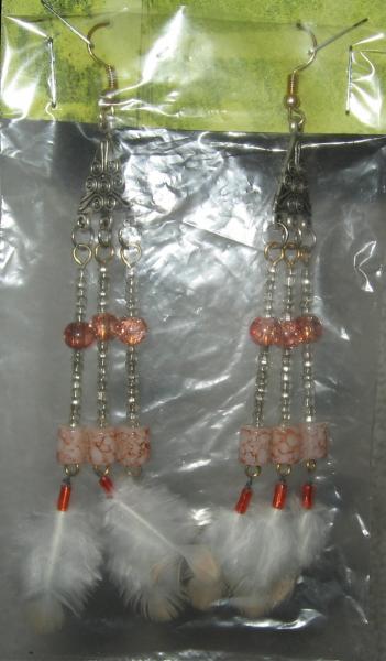 NEW Peach & Crystal Glass & Feather Earrings