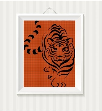 Tiger silhouette cross stitch pattern in pdf
