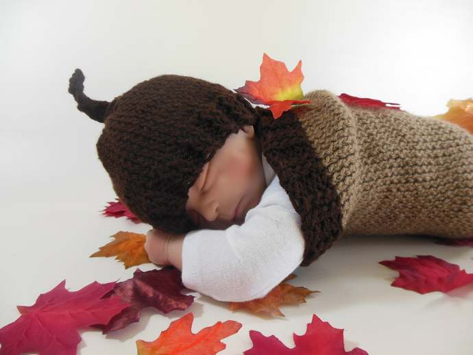 Custom Made to Order Acorn Cocoon Set, Sleep Sack Set, Photo Prop