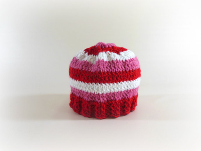 Custom Made Valentine Cocoon & Hat Set in Red, Pink, and White Stripes
