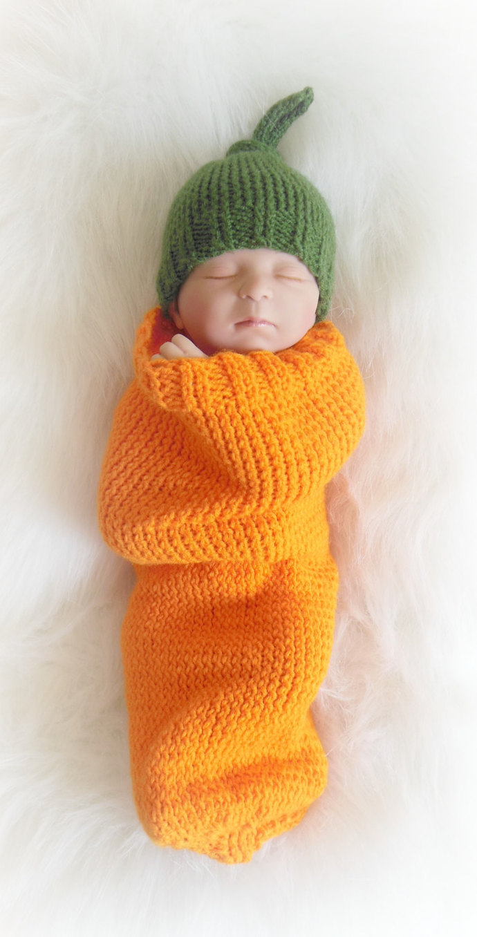 Custom Made to Order Pumpkin Cocoon & Hat Set, Sleep Sack, Sleep Bag, Wrap,