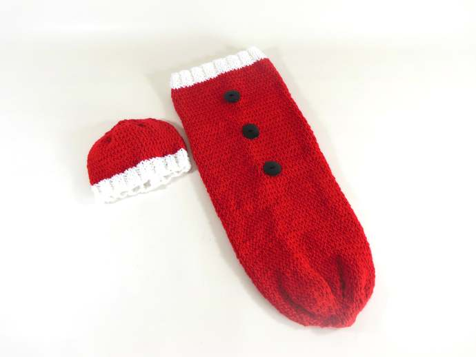 Custom Order Santa Cocoon & Hat Set, Santa Sleep Sack, Santa Swaddle Sack, Santa