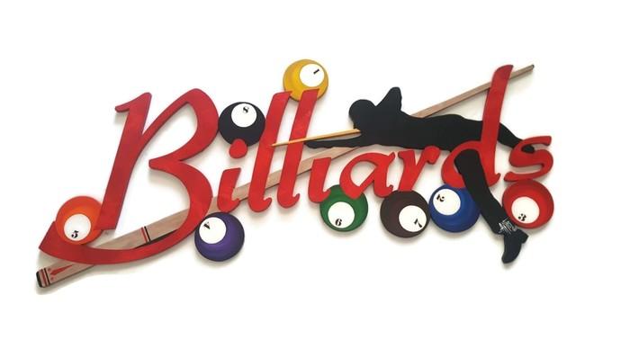 Red Billiards Wall Sculpture, Draw Shot Billiards wall decor, pool art, game