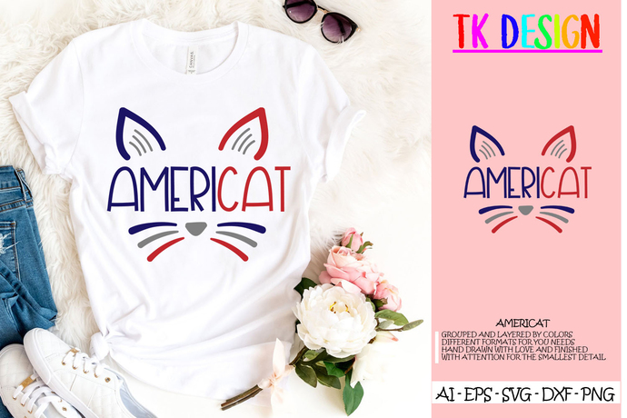 July 4th Cat SVG, Funny Cat svg, Fourth of July Cat svg file, patriotic clipart,