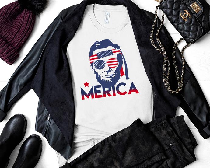 Abraham Lincoln Merica svg, Fourth of July SVG, 4th of July Svg, Patriotic SVG,