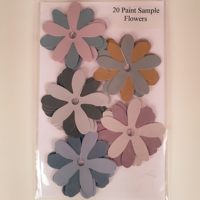 Paint Sample Flowers Pink Blue Gray Recycled