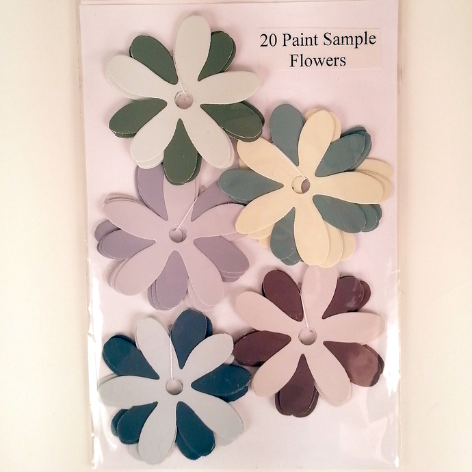 Paint Sample Flowers Purple Green Yellow Recycled